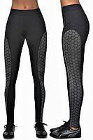 Женские спортивные легинсы Bas Black Escape, чёрные с серой вставкой, утягивающие с высокой талией S