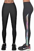 Женские спортивные лосины Bas Black Cosmic black, чёрные с разноцветной полоской-вставкой, утягивающие,