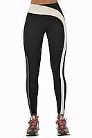 Женские лосины для спорта Bas Black Flow, чёрные с бежевой полоской и синей вставкой, высокая талия,