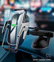 Холдер Usams US-CD101 Black + Wireless Charger (CD101ZJ01)