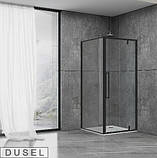 Душевая кабина Dusel DL198B/DL196B Black Matt ,100х100х190, дверь распашная, профиль черный, стекло прозрачное, фото 2