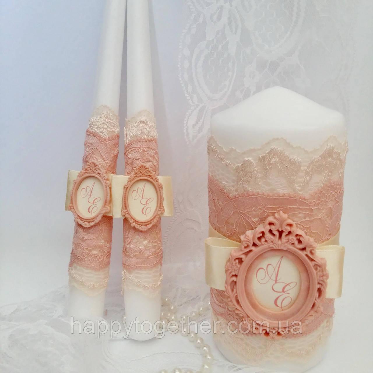"""Свадебные свечи с монограммой """"Пудровые"""""""