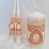 """Свадебные свечи с монограммой """"Пудровые"""", фото 1"""