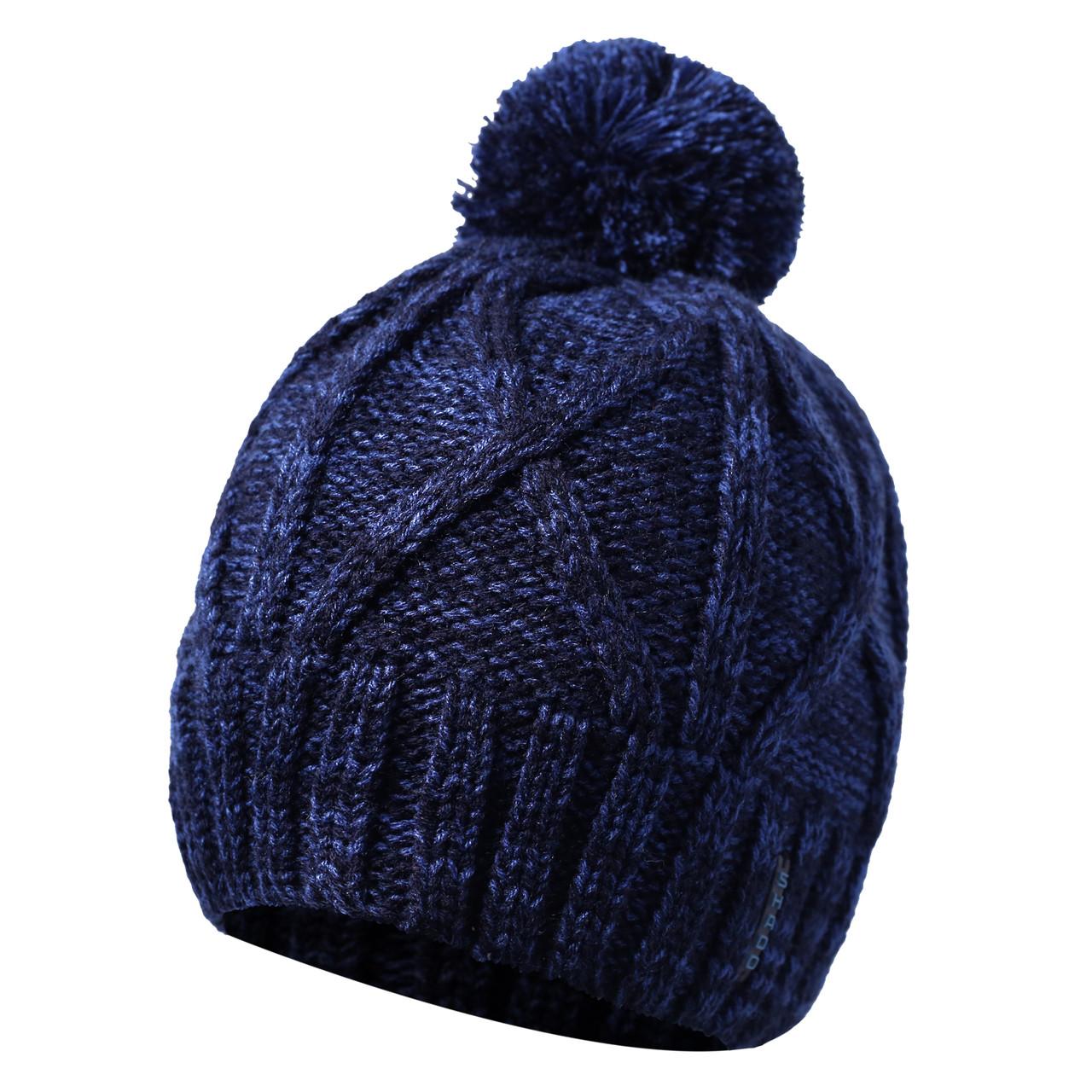 Мужская шапка с бубоном тёмно-синий