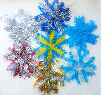 Мишура новогодняя,новогодние украшения - снежинки-подвески каркасные диаметр 150 мм