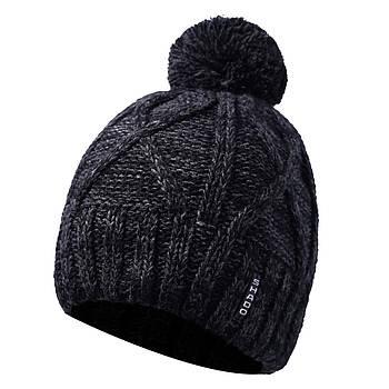 Мужская шапка с бубоном черно-серый
