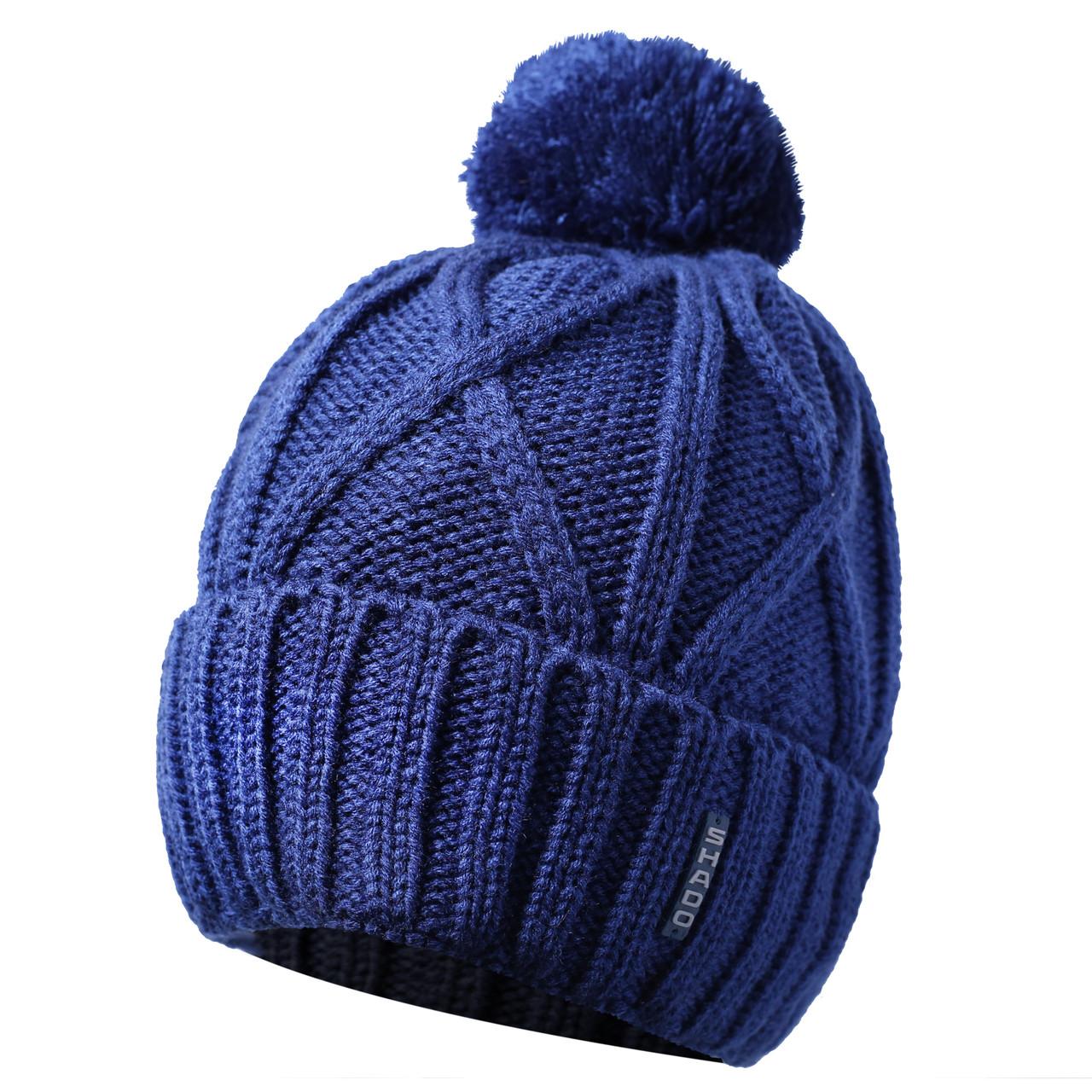 Мужская шапка с бубоном синий