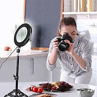 """Кольцевой LED свет ZM118 (10"""" - 27см) с пультом, USB, стойкой 80 см и шарниром для предметной съемки"""