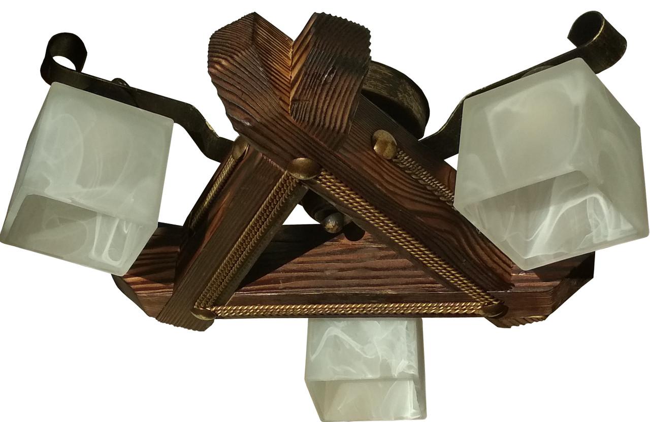 Люстра треугольная потолочная из дерева на 3 плафона