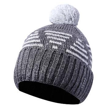 Зимняя мужская шапка с бубоном серый