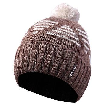 Зимняя мужская шапка с бубоном коричневый