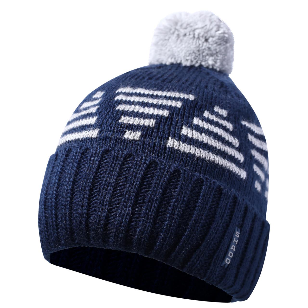 Зимняя мужская шапка с бубоном