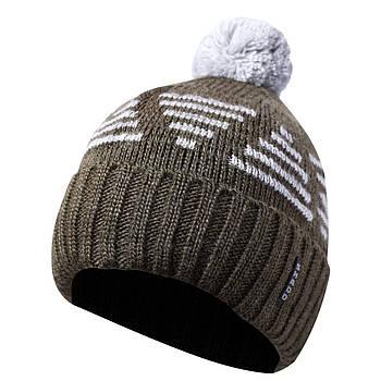 Зимняя мужская шапка с бубоном хаки