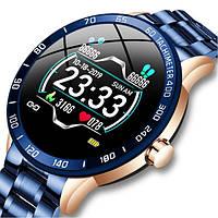 Чоловічий смарт годинник Smart Lige SeaLiner Blue зі сталевим ремінцем