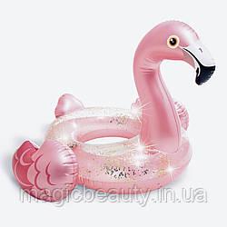 Надувной круг Розовый фламинго с блёстками, размер 71х89см