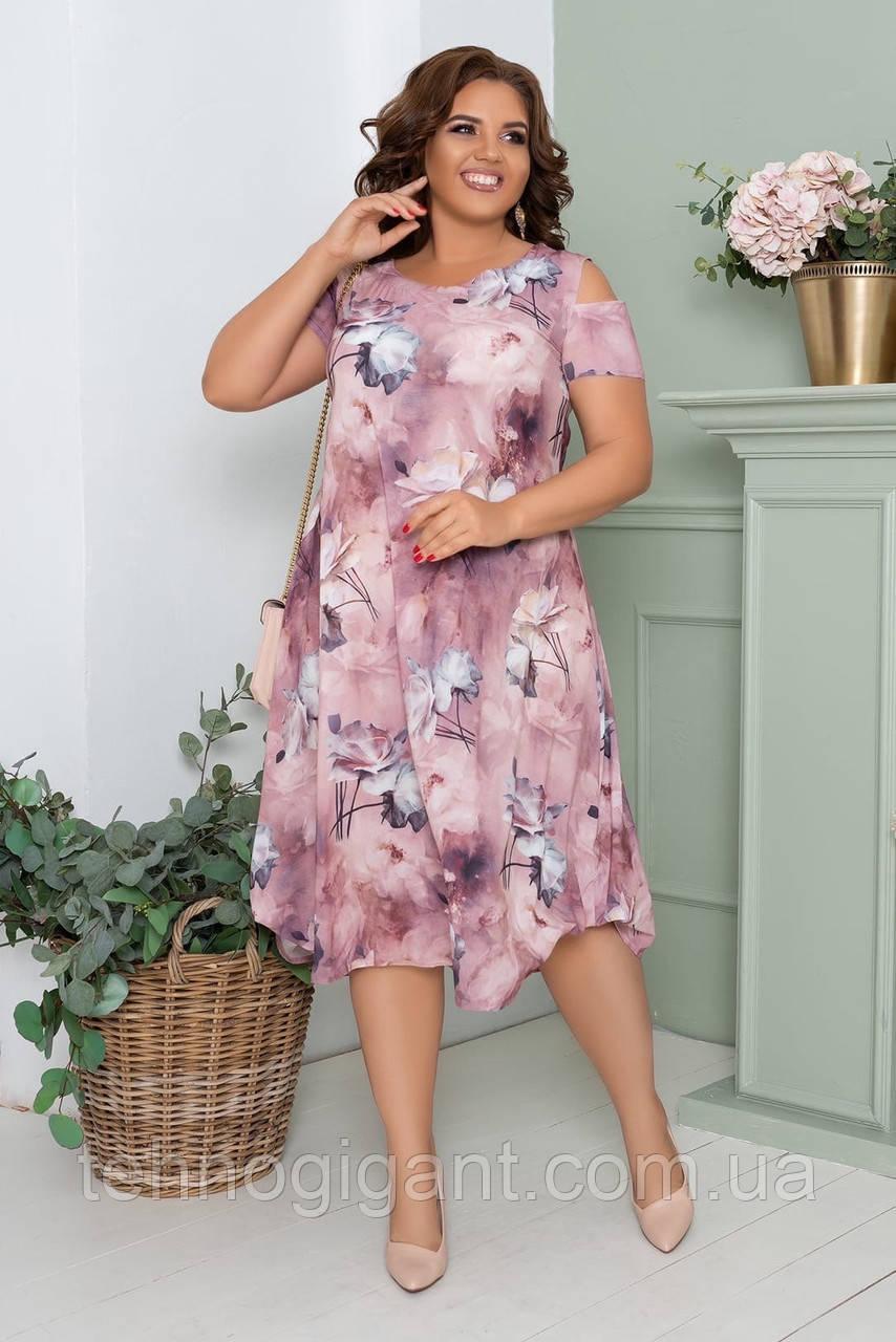 Нарядное летнее шифоновое платье больших размеров 50,52,54,56, на подкладке, цветочный принт, Сиреневое