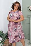 Нарядное летнее шифоновое платье больших размеров 50,52,54,56, на подкладке, цветочный принт, Сиреневое, фото 2
