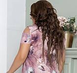 Нарядное летнее шифоновое платье больших размеров 50,52,54,56, на подкладке, цветочный принт, Сиреневое, фото 5