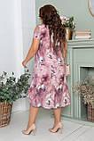 Нарядное летнее шифоновое платье больших размеров 50,52,54,56, на подкладке, цветочный принт, Сиреневое, фото 6
