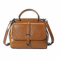 Жіноча повсякденна шкіряна сумка коричневого кольору, фото 1