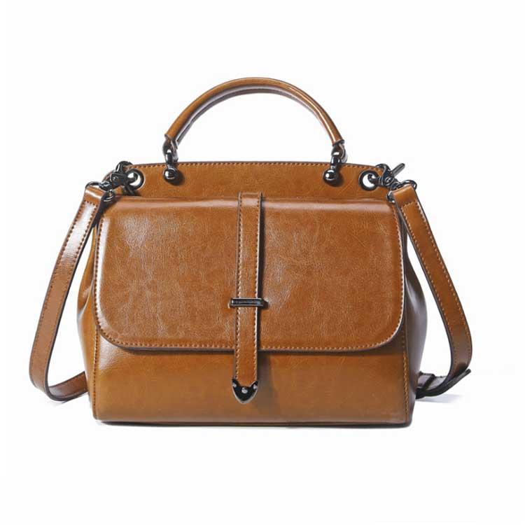 Жіноча повсякденна шкіряна сумка коричневого кольору