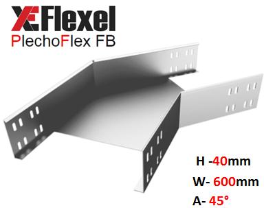 Уголок оцинкованный 45° W600 H40 T1,5 мм Plechoflex