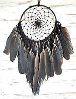 Ловец снов ручной работы черный 1 круг с пером ворона