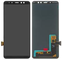 Дисплей для Samsung A730 Galaxy A8 plus модуль в сборе с тачскрином, черный, Oled