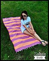 Пляжный коврик/покрывало для моря и пикников оранжевое с сиреневым 180х100 в полоску Турция