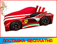 Кровать машина с матрасом Феррари красная с полосами