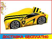Кровать машина с матрасом Ламборгини желтая