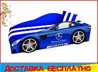 Кровать машина с матрасом Мерседес синий