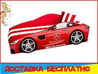 Кровать машина с матрасом Мерседес красный