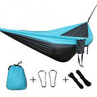 Гамак для дачи подвесной туристический Travel Hammock Black/Blue нейлоновый 200 х 100 см до 100 кг + чехол
