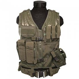 Жилет разгрузочный тактический с ремнем Mil-Tec USMC Combat Vest олива