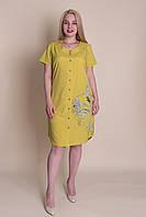 Батальне сукня - сорочка гірчичного кольору. Оптом і в роздріб. Розмір 52, 54, 56, 58, фото 1