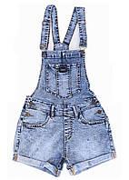 Женский джинсовый комбинезон шорты мом синие. Размер 28, 29