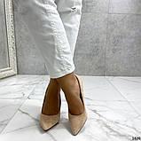 Жіночі туфлі човники на шпильці бежеві замш, фото 4