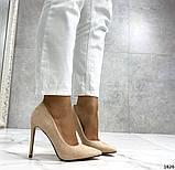 Жіночі туфлі човники на шпильці бежеві замш, фото 5