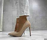Женские туфли лодочки на шпильке бежевые замш, фото 7