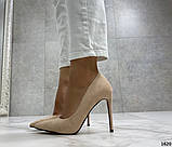 Жіночі туфлі човники на шпильці бежеві замш, фото 7
