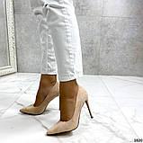 Жіночі туфлі човники на шпильці бежеві замш, фото 6