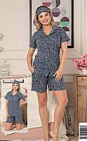 Пижама женская с шортами и рубашкой на пуговицах Турция