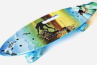 Пенни борд (скейт) СПОРТ 61 см. с ручкой колеса мерцающие