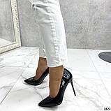 Жіночі туфлі човники чорні лакові, фото 4