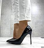 Жіночі туфлі човники чорні лакові, фото 2