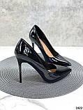 Жіночі туфлі човники чорні лакові, фото 3
