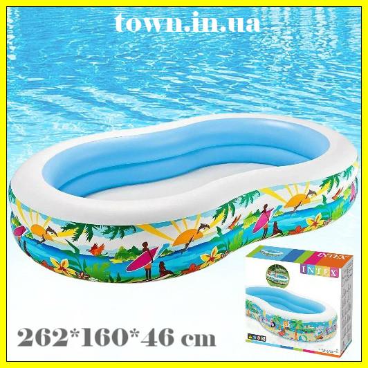 """Детский надувной бассейн Intex, 262*160*46 см """"Райская лагуна"""" Cемейный,большой, для дома,дачи,для детей 56490"""