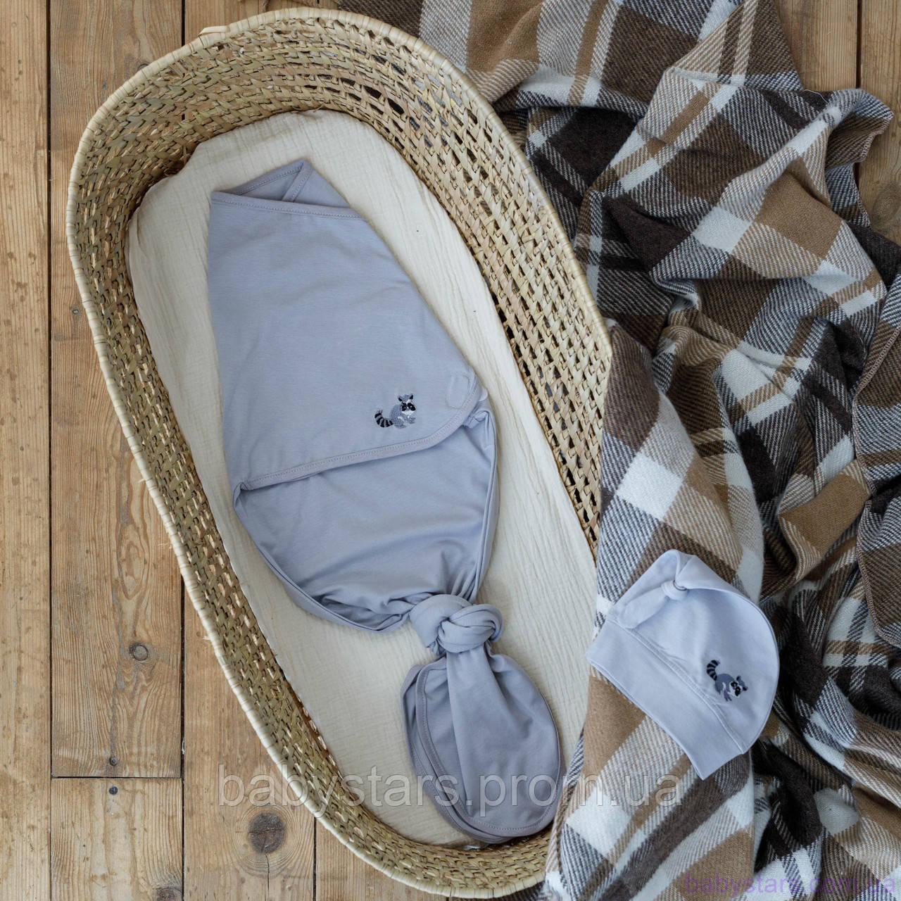 """Пеленка кокон для новорожденных на липучках """"Каспер"""" безразмерная с шапочкой, Енот с вышивкой"""