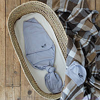 """Пеленка кокон для новорожденных на липучках """"Каспер"""" безразмерная с шапочкой, Енот с вышивкой, фото 1"""